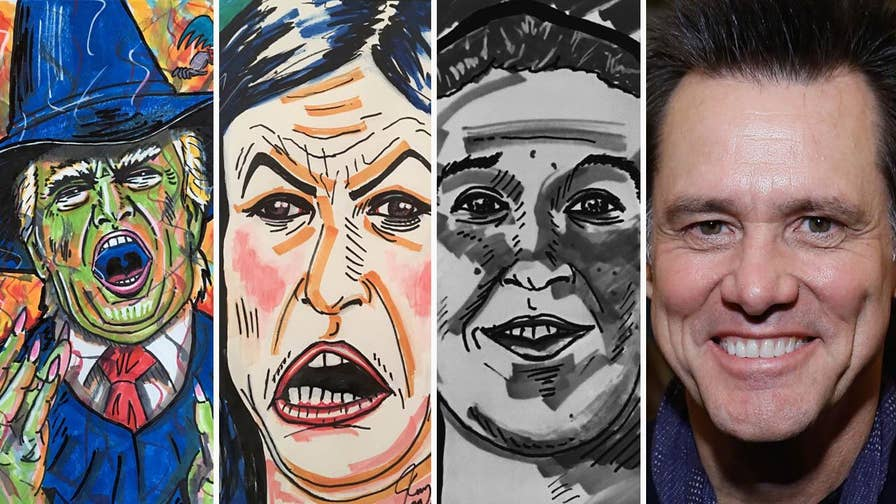 Comedian Jim Carrey has come under fire for his recent paintings depicting Trump as the Wicked Witch of the West, Sarah Sanders, and Facebook founder Mark Zuckerberg.