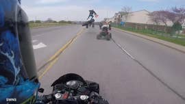 This is the horrifying moment an amateur motorcyclist was thrown 10ft into the air after a wheelie went disastrously wrong.
