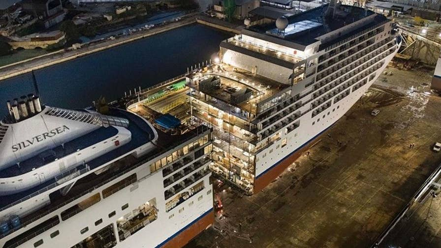 As part of a $100 million renovation, the Silversea ship Silver Spirit was cut in half to prepare for a massive 49-foot expansion.