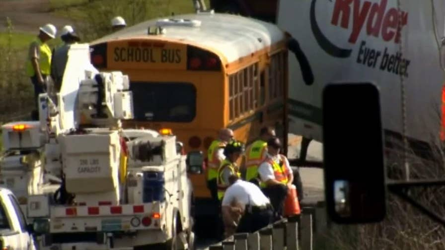 Bus driver recounts frightening moments following the collision with tractor trailer.