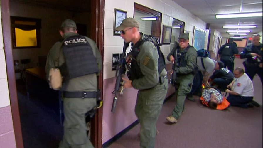 Drills teach first responders to work in tandem as police and medics train to work together in emergencies; Laura Ingle reports from Poughkeepsie, New York.