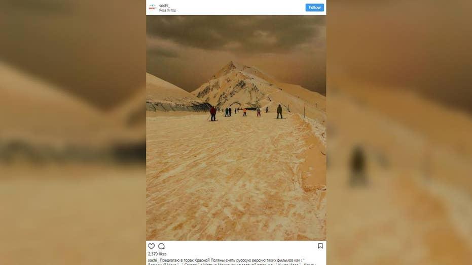 Sahara sands stain Sochi ski mountains orange?