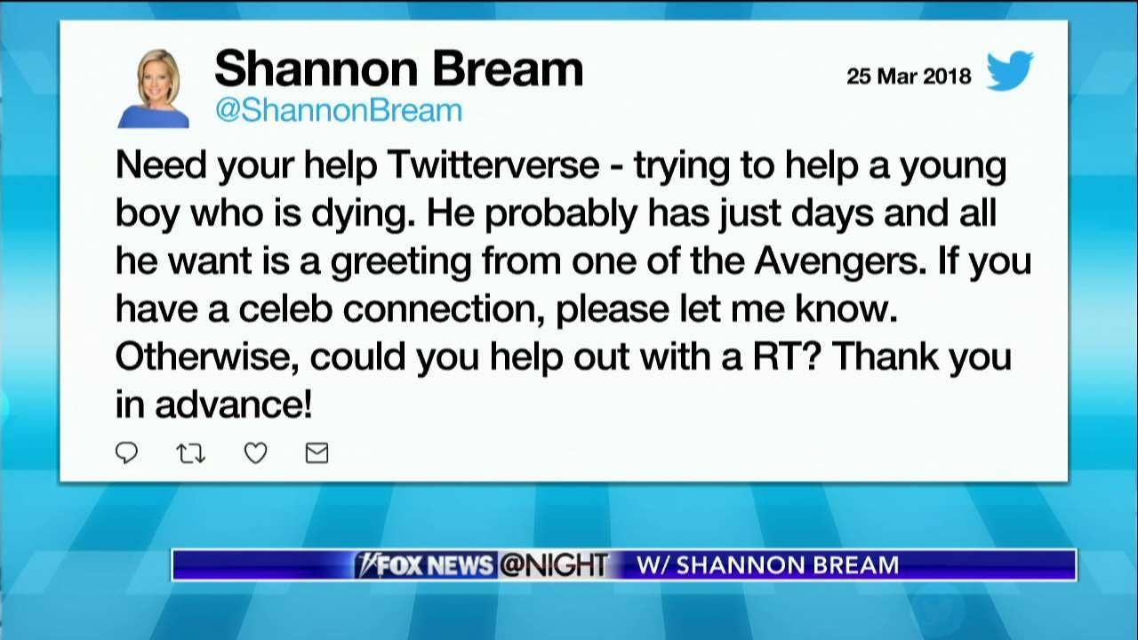 Boy who received avengers greetings thanks to shannon bream dies boy who received avengers greetings thanks to shannon bream dies at 11 fox news kristyandbryce Images