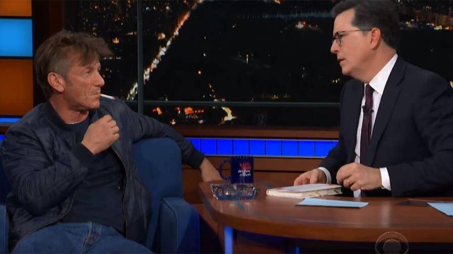 "Actor Sean Penn had a bizarre interview with ""Late Show's"" Stephen Colbert.  Penn lights up multiple cigarettes and admits to still being on Ambien."