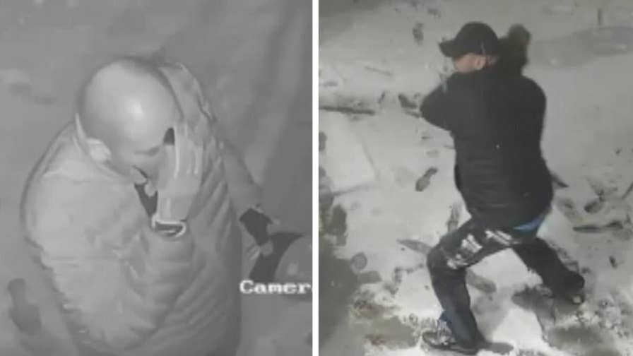 Raw video: NYPD is seeking information on a burglar who is seen crossing himself before breaking into a NYC shop.