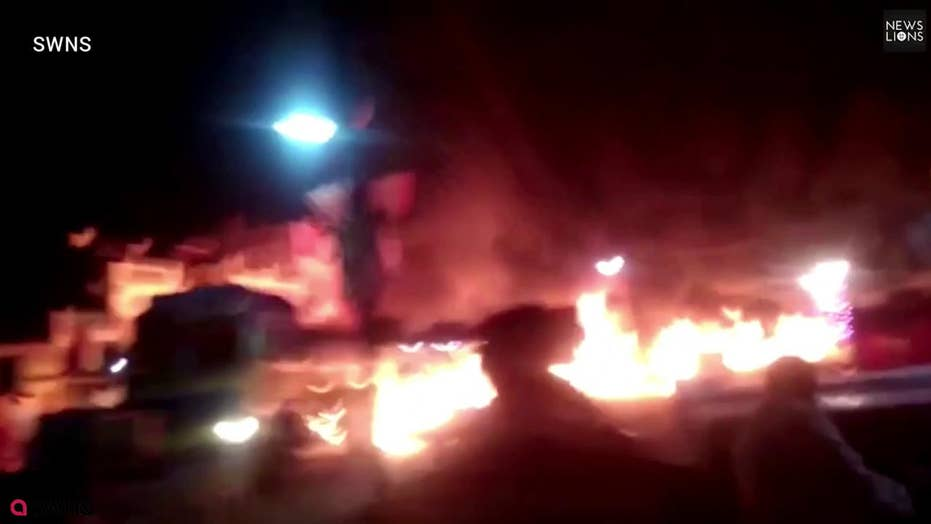 Amazing: Hero drives burning fuel cab to safety, leaves 'river of fire'