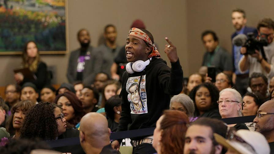 The brother of an unarmed black man who police shot and killed in Sacramento led protesters into a city council meeting; chief correspondent Jonathan Hunt reports from Los Angeles.