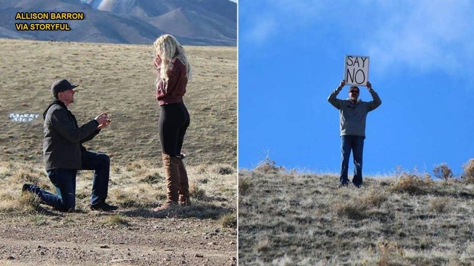 Dad crashes daughter's wedding proposal, pulls crazy stunt