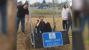Raw video: Park in Fort Smith, Arkansas installs swing made for children in wheelchairs.