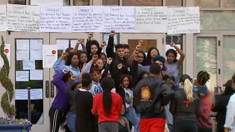 Student protesters at Howard University list nine demands they want met before they leave the administrative building.