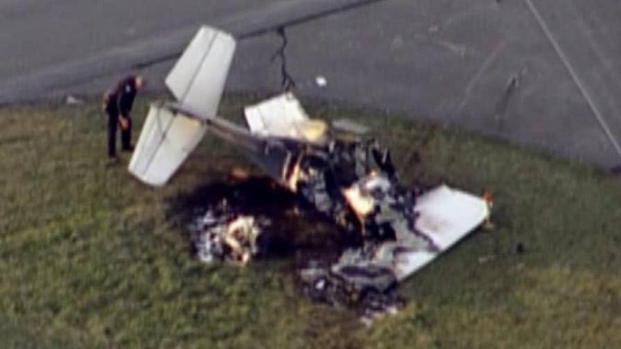 Raw video: Aftermath of a collision between two planes at an airport in Marion, Indiana.