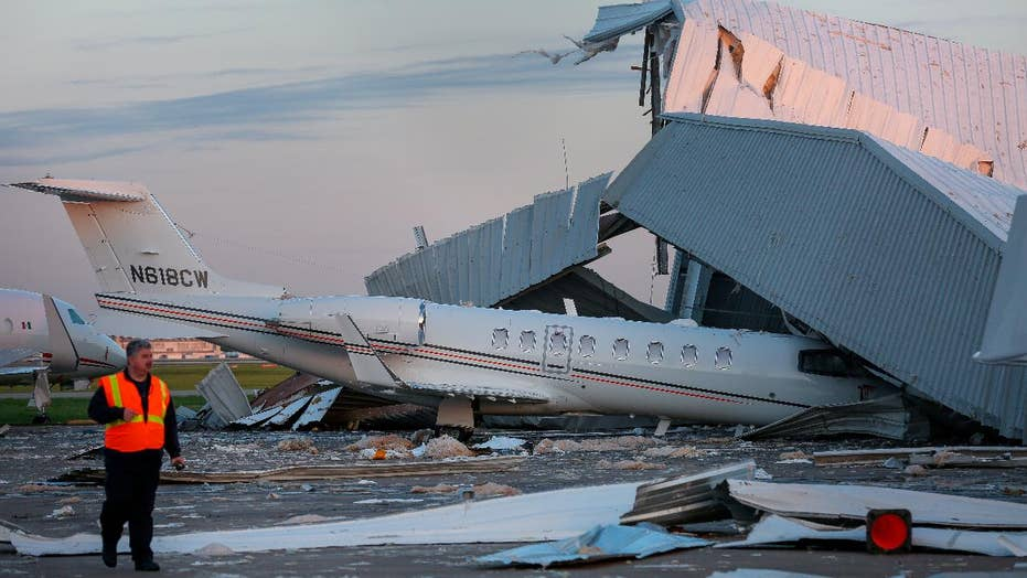Houston's Hobby Airport hangar destroyed by strong winds