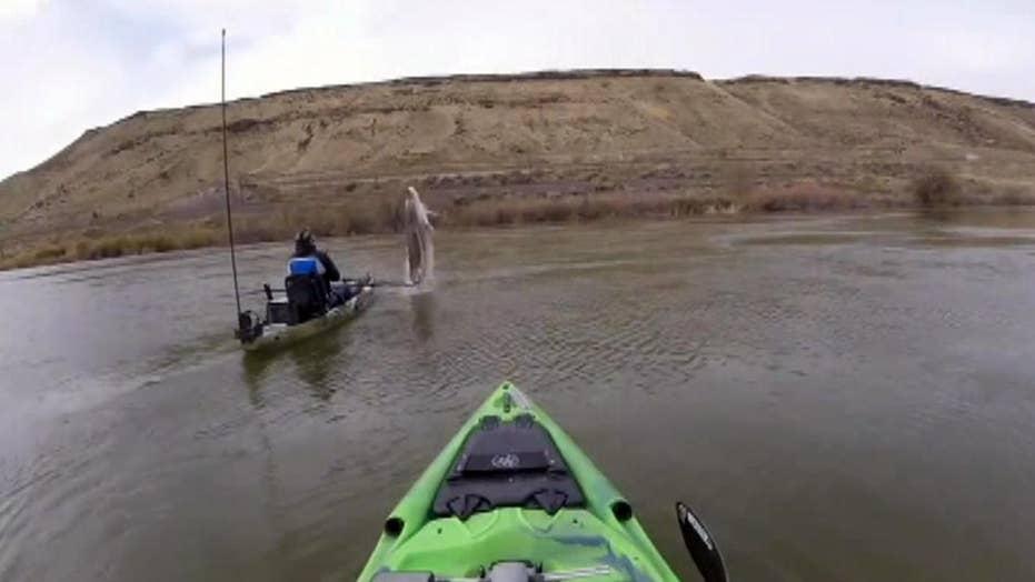 Sturgeon nearly sinks kayak on Snake River in Idaho