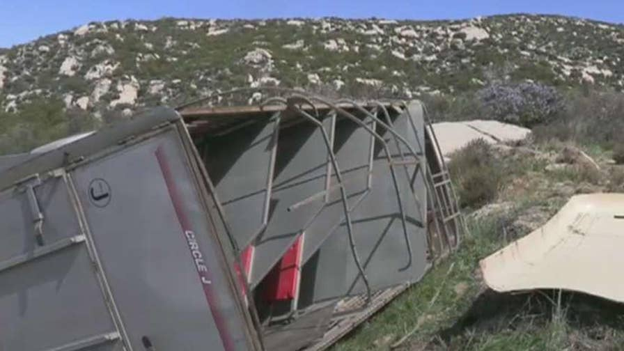 Border Patrol in California arrest 19 people after a horse trailer overturns.