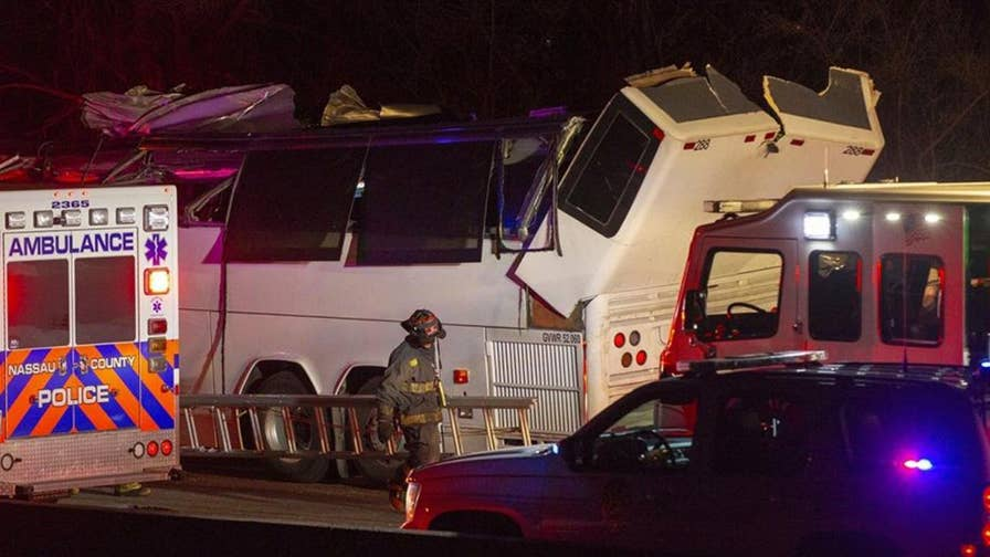 Charter bus crash with teenagers returning from spring break strikes overpass.