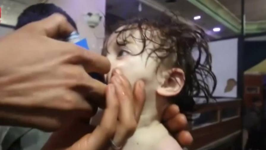 Horrific video shows children being treated after a chemical weapons attack on the rebel-held suburb of Douma, Syria.