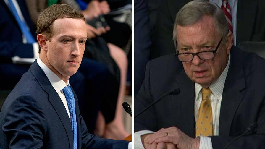 In response to question from Sen. Dick Durbin, Facebook CEO Mark Zuckerberg defends Facebook's privacy controls.