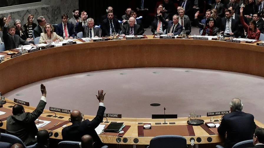 Raw video: The U.S.-drafted U.N. resolution condemned the suspected gas attack near Damascus and sought to establish a new body to determine responsibility for chemical weapons attacks in Syria; Bolivia joined Russia in voting 'no' with China abstaining.