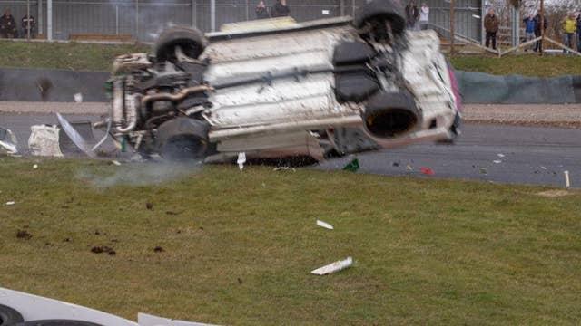 Miracle: Race car driver survives 100mph crash without a scratch