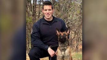 Officer Shawn Gannon was shot in the head and killed in Cape Cod, Massachusetts while pursuing a suspect; Lauren Green has the latest on the investigation.
