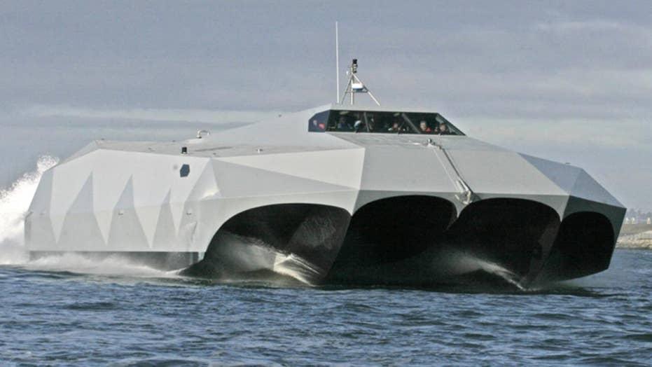 Futuristic Navy stealth attack boat headed to Washington DC