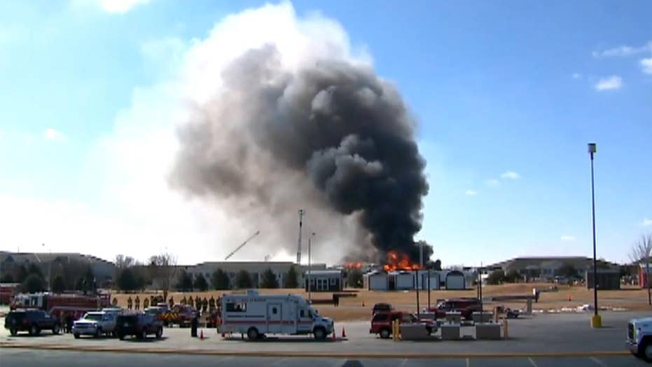 Firefighters burn down building to destroy unsafe chemicals