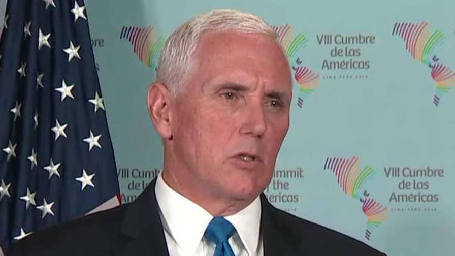 Vice President Mike Pence addresses the U.S. strike in Syria and discusses Venezuela's humanitarian crisis at the Summit of Americas in Lima, Peru.