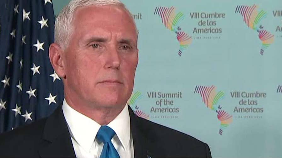 Vice President Pence speaks out about Russia's role in the Syrian crisis while at the Summit of America's in Lima, Peru.