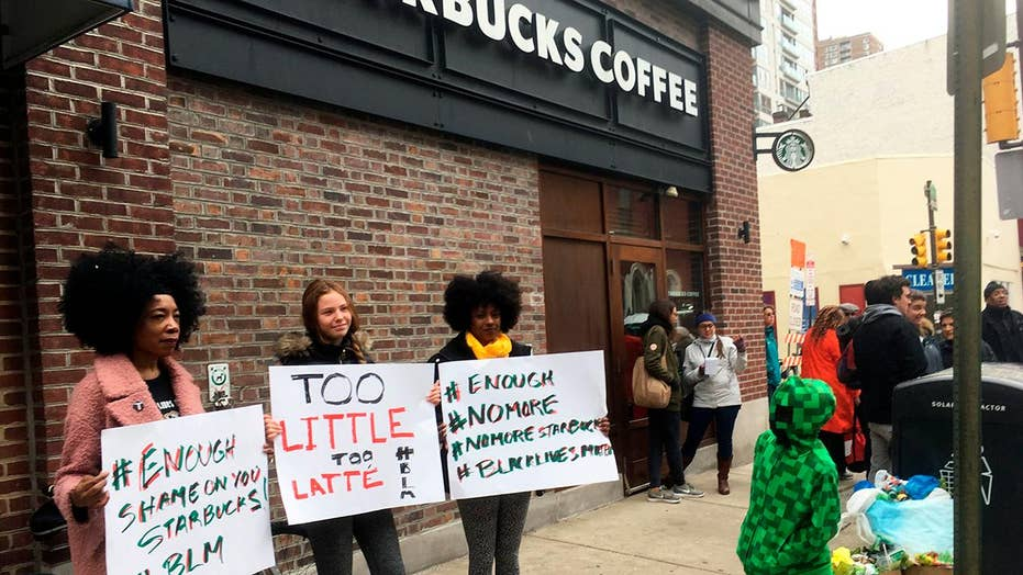 Dozens protest at Starbucks in Philadelphia