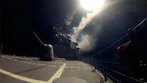 Raw video: Department of Defense releases footage of Tomahawk missiles fired from the USS Higgins toward targets in Syria on April 14th.