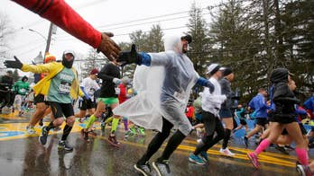 Runners anticipate the start of the 122nd annual Boston Marathon; Rick Levanthal has more on the race from the finish line in Boston, Massachusetts.