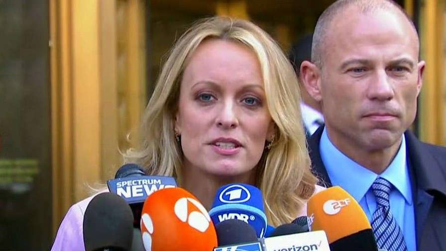 Former adult film star addresses the media following hearing in federal court on documents seized during FBI raid on President Donald Trump's personal attorney Michael Cohen.