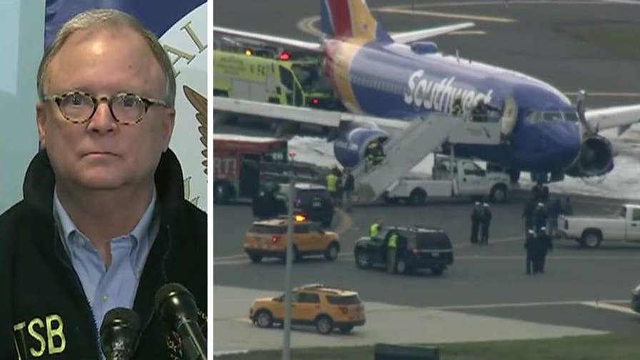 Robert Sumwalt briefs the media after the left engine of the Boeing 737-700 bound for Dallas exploded in midair.