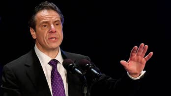 New York governor makes announcement at the United Federation of Teachers Building.