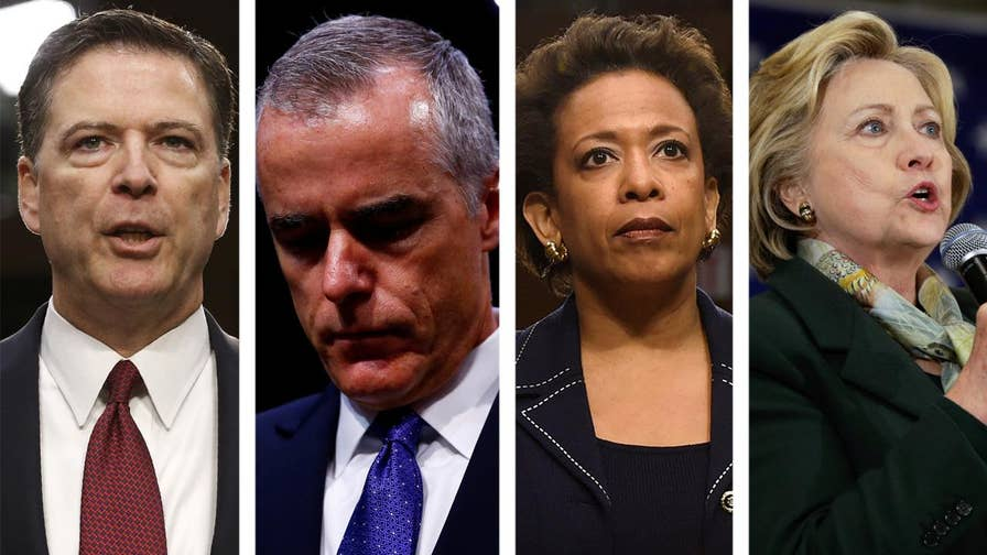 Nearly a dozen GOP congressmen send a criminal referral to the Justice Department and FBI seeking an investigation of former FBI Director James Comey, his deputy Andrew McCabe, ex-Attorney General Loretta Lynch and Hillary Clinton in connection with 2016 campaign scandals. #Tucker