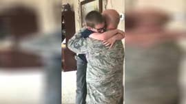 A North Dakota airman's surprise homecoming brought his 8-year-old son to tears.
