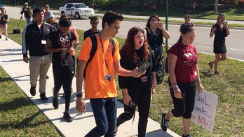 2,600 schools participate in a national student walkout to mark 19 years since Columbine massacre and seeking stricter gun control; Julie Banderas reports from LaGuardia High School in New York City.