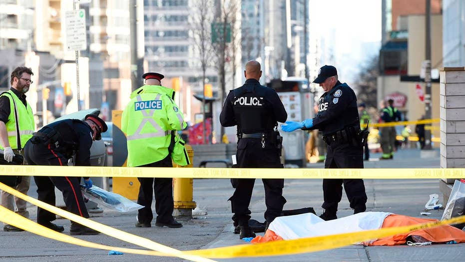 Horror in Toronto as van mounts curb, rams pedestrians