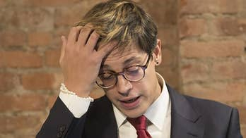 Conservative commentator Milo Yiannopoulos was driven out by a crowd associated with the Democratic Socialists of America, who gathered to chant, 'Nazi scum, get out.' #Tucker