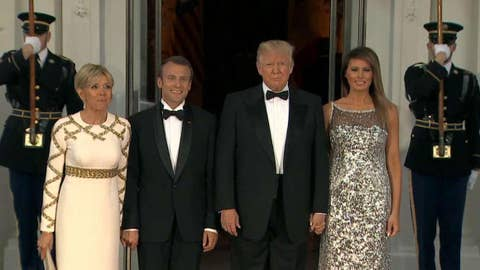 President Trump welcomes Macron to his first State Dinner