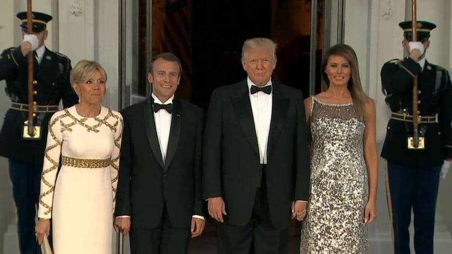 President Trump and first lady welcome President and Mrs. Macron to White House State Dinner.