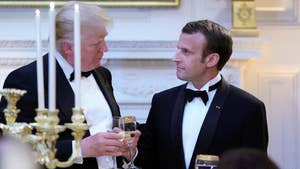 President Trump and first lady Melania Trump attend the State Dinner Reception with French President Emmanuel Macron and Brigitte Macron.