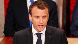 French President Emmanuel Macron tells Congress that while Iran must never possess nuclear weapons, France will not abandon the existing framework without having something more substantial in place.