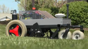 Team of engineering students build a lawnmower that cut the grass by itself.