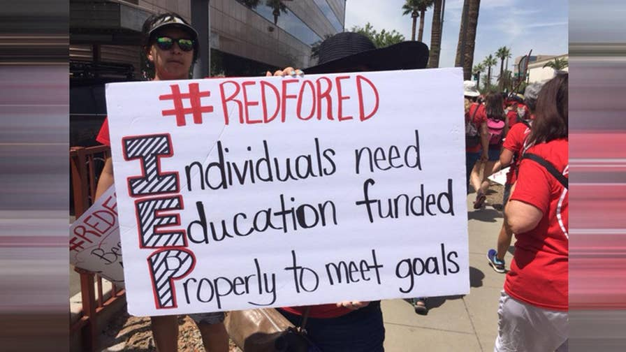 Tens of thousands of teachers from Arizona marched on the capitol Thursday demanding massive funding increases.