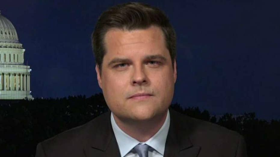 Rep. Matt Gaetz reacts to the House's Russia report