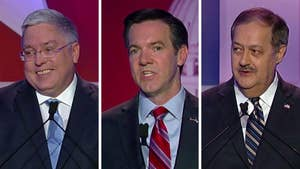 Senate hopefuls debate candidate flip-flopping on Republican party and tackling West Virginia's deadly opioid epidemic from Morgantown, West Virginia.