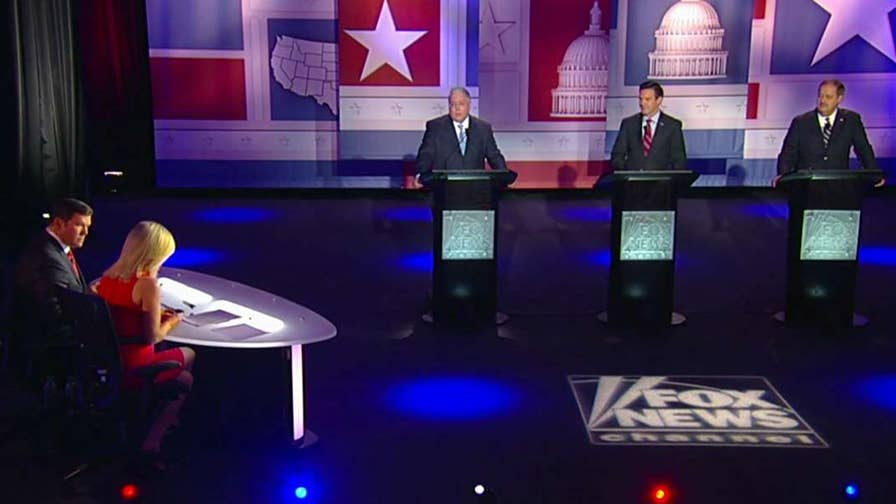 Republican Senate hopefuls debate credentials, the flaws of incumbent Joe Manchin, issues faced by state's coal mining industry and Don Blankenship's year in prison from Morgantown, West Virginia.