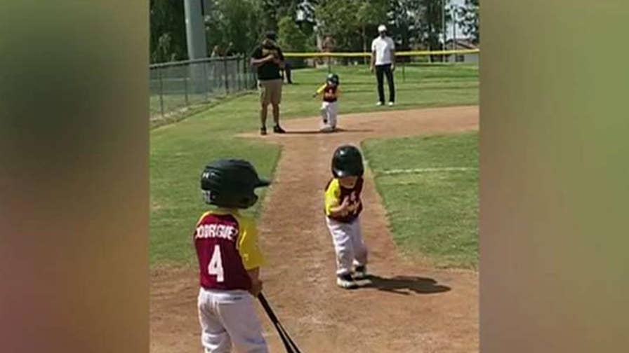 3-year-old from Walnut, California wins fans for his trip around the bases.