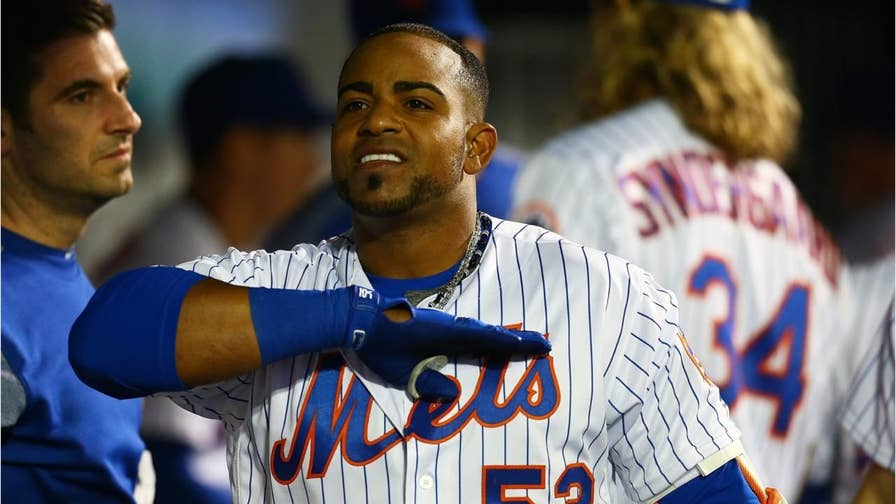 NY Mets' Yoenis Cespedes lost several diamonds in a slide at second. His expensive chain came undone and some of the diamonds scattered across the infield.